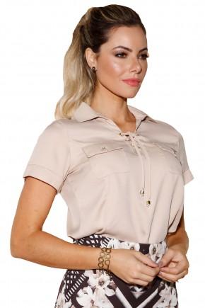blusa bege decote cordoes e amarracao bolsos frontais via tolentino viaevangelica frente