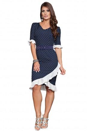 vestido justo assimetrico azul escuro branco estampa poa babados com cinto kauly viaevangelica frente