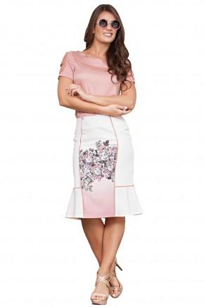 conjunto blusa rose manga vazada bordada saia sino estampa floral kauly viaevangelica frente