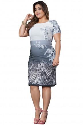 vestido justo plus size cinza mix de estampas manga curta cintura marcada kauly viaevangelica frente