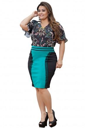 conjunto blusa preta estampa floral amarracao manga flare saia justa preta e verde kauly viaevangelica frente