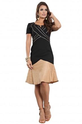 vestido sino preto e dourado listras manga curta barra rendada kauly viaevangelica frente