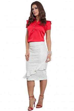 conjunto blusa vermelha babados e botoes saia justa assimetrica off white kauly viaevangelica frente