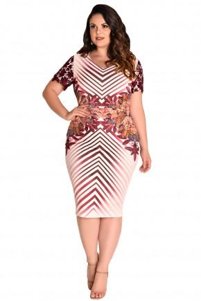 vestido tubinho plus size estampa floral e geometrica vermelha manga curta renda fascinius viaevangelica frente