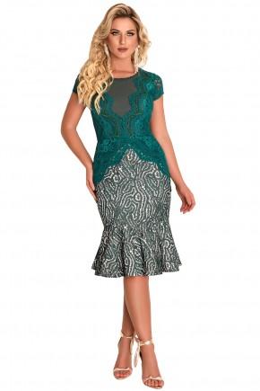 vestido sino verde esmeralda rendado e bordado em pedrarias fascinius via evangelica frente