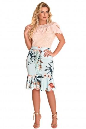 conjunto blusa rose renda e babados saia sino azul claro estampa floral detalhe amarracao fascinius viaevangelica frente