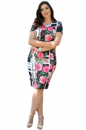 vestido tubinho preto estampa floral rosa e listras brancas decote detalhe metalico cassia segeti frente