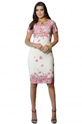 vestido justo branco estampa floral rosa detalhe fivela decote cassia segeti frente