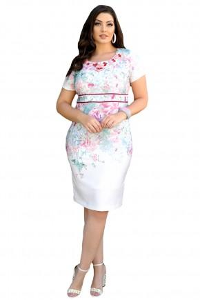 vestido branco justo estampa floral decote bordado pedrarias cintura marcada cassia segeti frente
