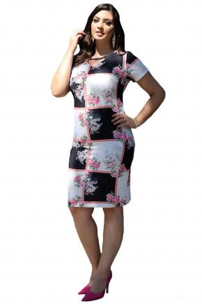 vestido tubinho estampa quadrados branco e preto e floral decote v vazado cassia segeti frente