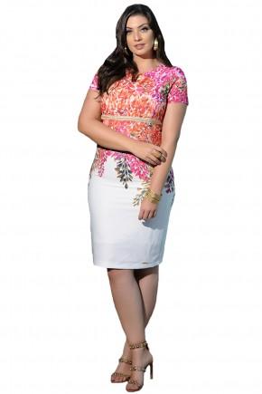 vestido tubinho branco estampa floral rosa e laranja bordado pedrarias cassia segeti frente
