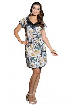 vestido estampa floral e geometrica decote v bordado pedrarias e guipir amarracao cintura cassia segeti frente