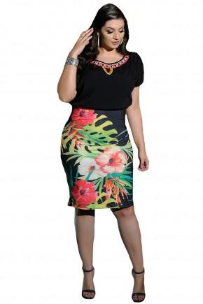 conjunto blusa preta borado pedrarias decote saia preta justa estampa floral e folhagem cassia segeti frente
