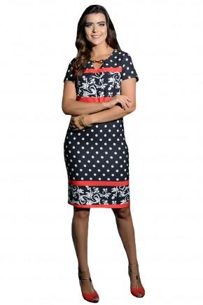 vestido justo estampa poa e arabescos faixas vermelhas decote v detalhe metalico cassia segeti frente