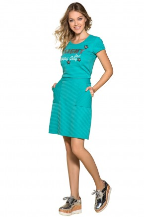 vestido verde agua estampa frase e estrelas com paetes bolsos frontais moda teen nitido jeans frente