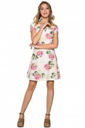 vestido evase estampa floral moda teen detalhe decote ilhos e amarracao nitido jeans viaevangelica frente