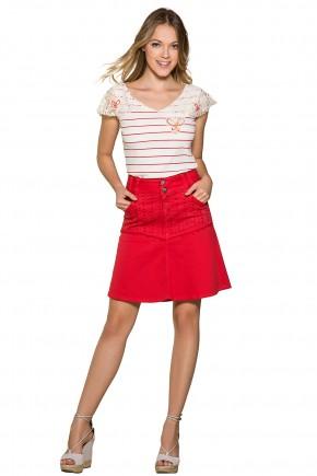 saia vermelha evase strass frontal e desfiados moda teen nitido jeans frente