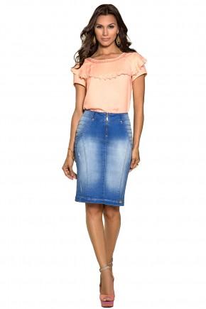saia jeans justa detalhes nervuras laterais ziper frontal nitido jeans frente