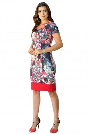 vestido tubinho preto estampa floral detalhes vermelho decote vazado cassia segeti frente