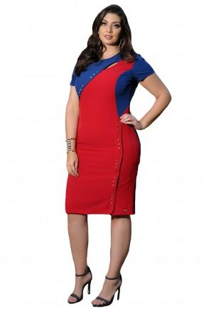 vestido tubinho vermelho e azul aplicacao tachas decote vazado cassia segeti frente