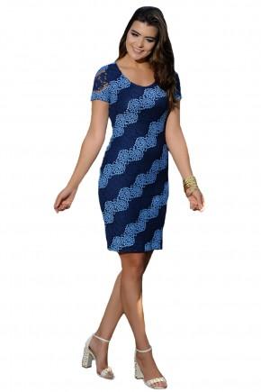 vestido justo azul claro e escuro sobreposicao renda detalhes diafonais cassia segeti frente
