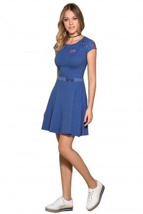 vestido gode azul patches manga curta moda teen nitido jeans frente