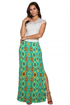 saia longa verde estampa etnica fenda lateral nitido jeans frente