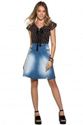 saia evase jeans moda teen detalhes ziper laterais nitido jeans frente