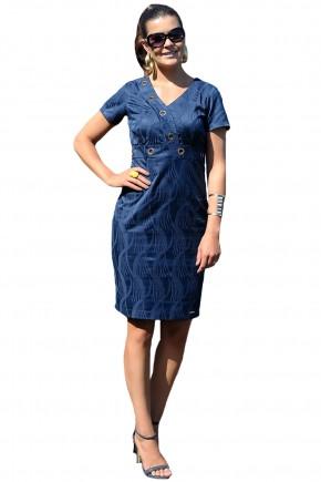 vestido justo azul escuro detalhe ilhos decote v cassia segeti frente