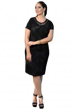 vestido tubinho preto estampado decote rendado cassia segeti frente