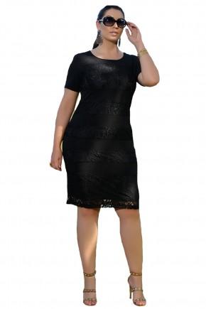 vestido tubinho preto faixas rendadas cassia segeti frente