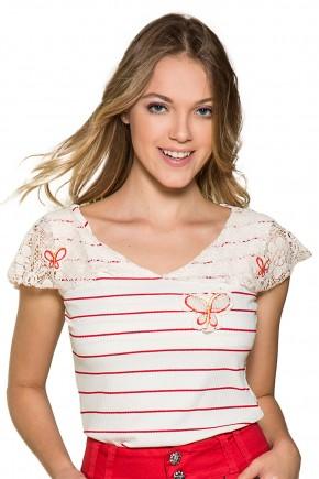 blusa off white listras vermelhas manga renda borboletas moda teen nitido jeans frente