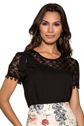 blusa preta bordado pedrarias ombros e mangas renda laco no ombro nitido jeans frente
