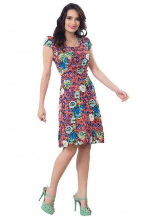 vestido evase laranjado estampa floral cintura marcada corrente strass decote bella heranca frente