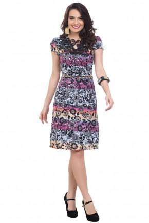 vestido estampa floral e etnica colorido decote guipir cintura bordada predrarias bella heranca frente
