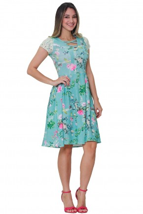 vestido verde gode estampa floral e folhagem manga renda decote trancado tata martello frente