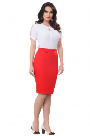 conjunto blusa branca lacos mangas e decote saia justa vermelha com cinto bella heranca frente