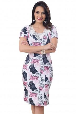 vestido branco justo estampa floral rosa e cinza bordado guipir e pedrarias decote bella heranca frente