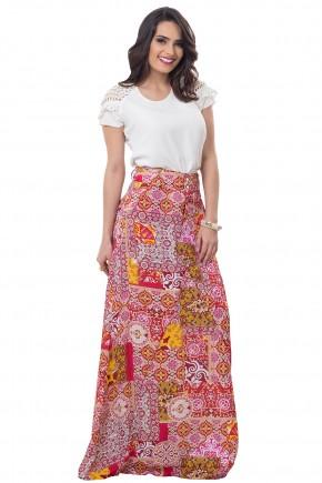 conjunto blusa off white manga rendada perolas saia longa estampa floral e etnica bella heranca frente