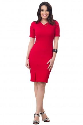 vestido tubinho vermelho decote v bordado prega lateral bella heranca frente