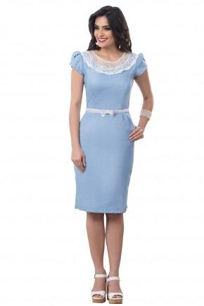 vestido tubinho vintage azul claro poas branco gola guipir com cinto lacinho bella heranca frente