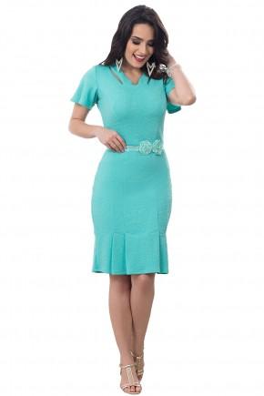 vestido sino verde agua mangas amplas decote vazado pregas na barra com cinto bella heranca frente