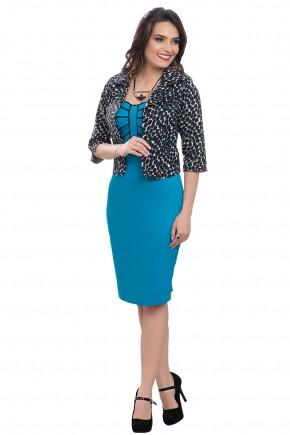 vestido azul escuro tubinho com detalhes preto com casaco de bolinhas bella heranca frente