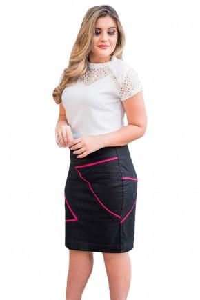 saia sarja preta reta tradicional listras rosa pink assimetricas raje jeans frente