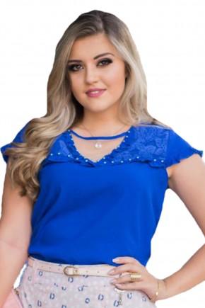 blusa azul royal bordada babados decote vazado com tule raje jeans frente