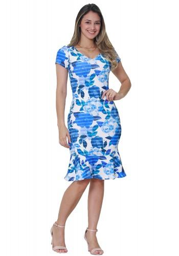 vestido sino branco estampa floral azul manga curta decote v tata martello frente