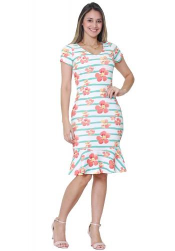 vestido sino branco estampa listras verdes e floral laranja manga curta tata martello frente