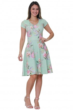 vestido gode verde agua estampa floral decote v manga curta tata martello frente