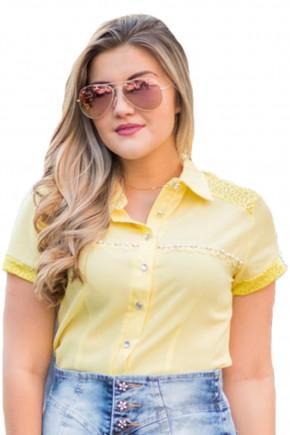 camisa amarela botoes renda e bordado pedrarias raje jeans frente detalhe