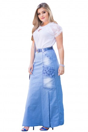 saia longa jeans clara detalhe floral pregas laterais raje jeans frente